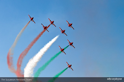 Picture Perfection does not come easy, One of the last Displays of the SKAT in Kiran Mk II aircrafts at Aeroindia 2011