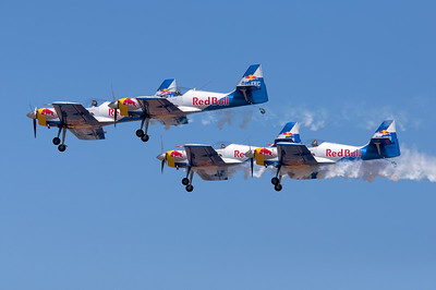 Flying Bulls close formation, watch the heads and eyes.