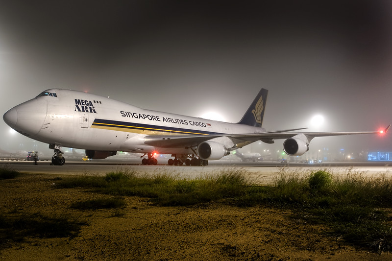 Singapore Cargo's MegaARK 747 Freighter on a foggy morning