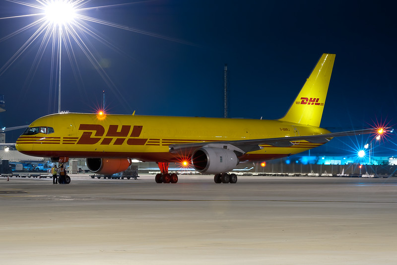DHL getting ready to depart, Tripod mounted
