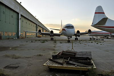 An old Zantop Lockheed L-188 Electra, put out to pasture at Willow Run airport (KYIP) near Detroit.  My Great-Grandmother riveted B-24 Liberators together in the hangar to the left during WWII.
