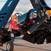 Jinnifer George With Jim Tobul's F-4U Corsair