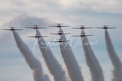 RCAF Snowbirds 9 Ship Big Delta Formation On Arrival To Airshow London 2018