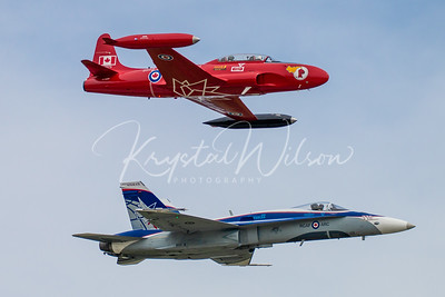 RCAF CF-18 Demo Hornet And CT-33 Red Knight Heritage Fly-By At Airshow London Practice 2018