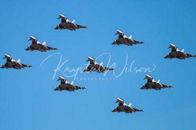 RAF Typhoons 9-Ship Diamond Formation At RIAT 2018