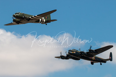 Avro Lancaster And Douglas Dakota From RAF BBMF Perform Heritage Flight At RIAT 2018