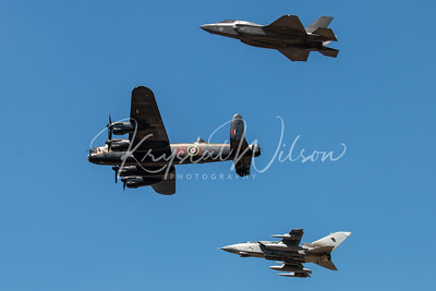 Avro Lancaster, F35 and a Panavia Tornado Heritage Flight At RIAT 2018
