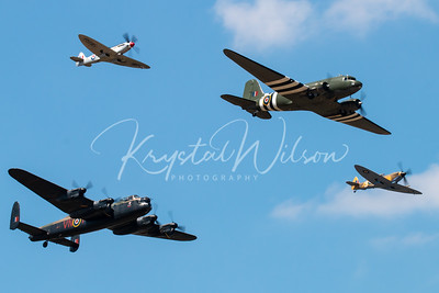 Avro Lancaster, Douglas Dakota and 2 Spitfires Heritage Flight At RIAT 2018