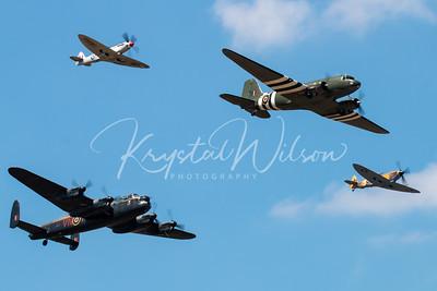 Avro Lancaster, Douglas Dakota and 2 Spitfires Heritage Flight At RIAT 2018