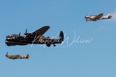 Avro Lancaster and 2 Spitfires Perform Heritage Flight At RIAT 2018