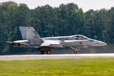 """VMFA-142 plane 202, piloted by Col William J. """"Scoundrel"""" Blalock is taxing into position for take-off. Col Blalock was the CO of the Flying Gators from 1999-2001."""