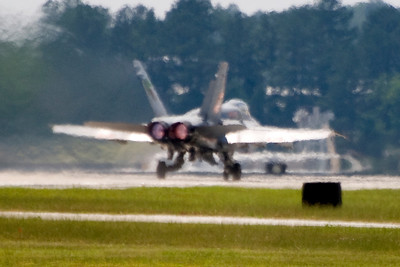 VMFA-142 plane 200, piloted by LtCol Farris, has the afterburners lit for take-off on the squadron's last flight.