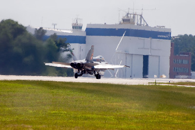 VMFA-142 plane 200 begins his take-off roll, for the last flight of the squadron.