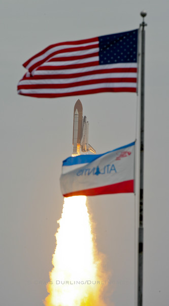 Space Shuttle Atlantis successfully leaves the earth for the final time, bringing an end to an historic space shuttle program.