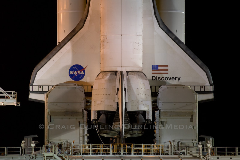 Space Shuttle Dicovery sits atop launch pad 39A at Kennedy Space Center on November 3, 2010 awaiting its final scheduled launch at 3:04pm EST on the November 5th.