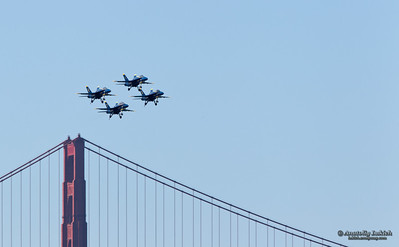 US Navy Demonstration Squadron Blue angels, flying on Boeing F/A-18 Hornet showing precision of flying and the highest level of pilot skills during 2010 San Francisco Fleet Week on October 7, 2010  in San Francisco, CA.