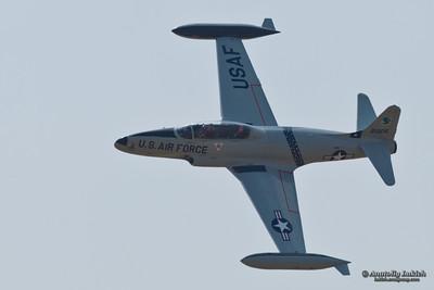 SACRAMENTO, CA - SEPT 10: Lockheed T-33 Shooting Star aircraft on display at the California Capital Airshow, on September 10, 2011 at Mather Airport, Sacramento, CA.