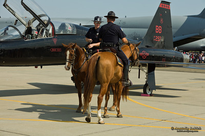 SACRAMENTO, CA - SEPT 10: Mounted Police Team during California Capital Airshow on September 10, 2011 at Mather Airport, Sacramento, CA.