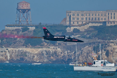 SAN FRANCISCO, CA - OCTOBER 8: Patriots Jet Team on L-39 Albatross aircrafts showing precision of flying, the highest level of pilot skills during Fleet Week on October 8, 2011 in San Francisco, CA.