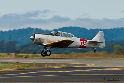 SANTA ROSA, CA - AUG 20: 1959 North American SNJ-5  aircraft demonstration during the Wings Over Wine Country Air Show, on August 20, 2011, Charles M. Schulz - Sonoma County Airport, Santa Rosa, CA.