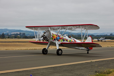SANTA ROSA, CA - AUG 21: Boeing B75N1 aircraft demonstration during the Wings Over Wine Country Air Show, on August 21, 2011, Charles M. Schulz - Sonoma County Airport, Santa Rosa, CA.