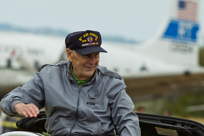 SANTA ROSA, CA - AUG 20: Elderly USAF Veteran is waving to spectators during the Wings Over Wine Country Air Show, on August 20, 2011, Charles M. Schulz - Sonoma County Airport, Santa Rosa, CA.