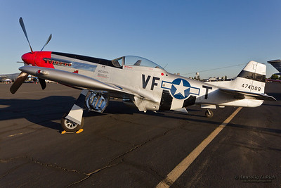 SACRAMENTO, CA - SEPT 8: P-51 Mustang World War II aircraft on display during California Capital Airshow on September 8, 2012 at Mather Airport, Sacramento, CA.