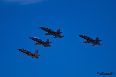 SACRAMENTO, CA - SEPT 8: USAF Team fly on Northrop T-38 Talon aircrafts at the California Capital Airshow showing precision of flying and the highest level of pilot skills, on September 8, 2012 in Sacramento, CA.