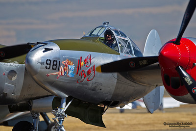 "SACRAMENTO, CA - SEPT 8: Lockheed P-38 Lightning ""Honey Bunny"" World War II aircraft on display during California Capital Airshow on September 8, 2012 at Mather Airport, Sacramento, CA."