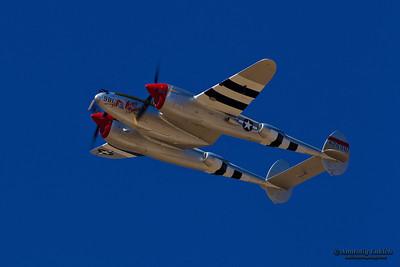 "SACRAMENTO, CA - SEPT 8: Lockheed P-38 Lightning ""Honey Bunny"" World War II aircraft on display during California Capital Airshow on September 8, 2012 at Mather Airport, Sacramento, CA."