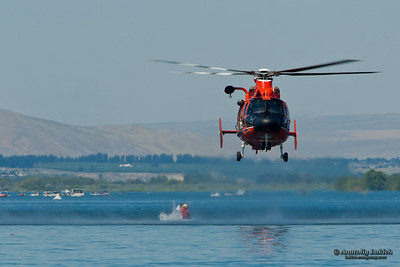 TRI-CITIES, WA - JULY 29: USCG Eurocopter HH-65C Dolphin Helicopter Rescue Demonstration Flight at the Lamb Weston Columbia Cup July 29, 2012 on the Columbia River in Tri-Cities, WA.