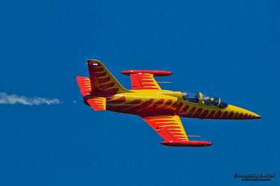 "TRI-CITIES, WA - JULY 29: Pilot Rich Perkins flyies on Aero Vodochody L-39C Albatross ""Firecat""  aircraft during airshow at the Lamb Weston Columbia Cup July 29, 2012 on the Columbia River in Tri-Cities, WA."