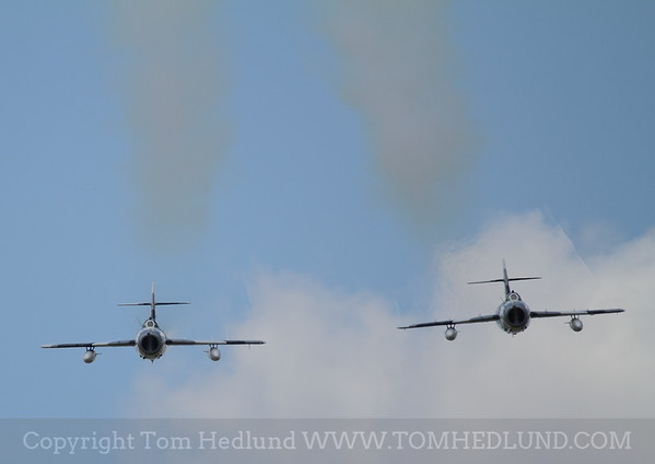 """Mig 17 Solo's of the Black Diamond Jet team. Flown by """"Buick"""" and """"Snort"""" Practicing on Friday."""