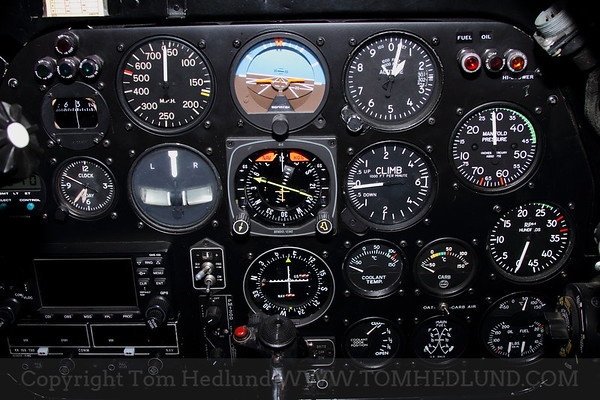 """The cockpit of the P-51 Mustang """"Baby Duck""""."""