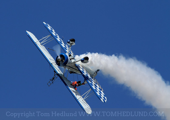 Wingwalking at it best with Tony Kazian and Dave Dacy piloting his Super Stearman.
