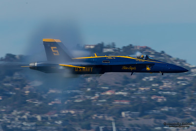 SAN FRANCISCO, CA - OCTOBER 10: US Navy Demonstration Squadron Blue Angels showing precision of flying and the highest level of pilot skills during Fleet Week on October 10, 2015 in San Francisco, CA.