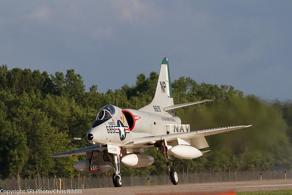 A-4 Skyhawk is susceptible to crosswinds too.  He was leaning pretty good.