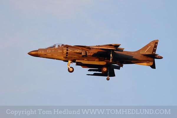 The AV-8B Harrier II of the U.S. Marine Corps  kicking off the Saturday night airshow.