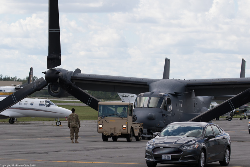 V-22 being towed with the engines forward.