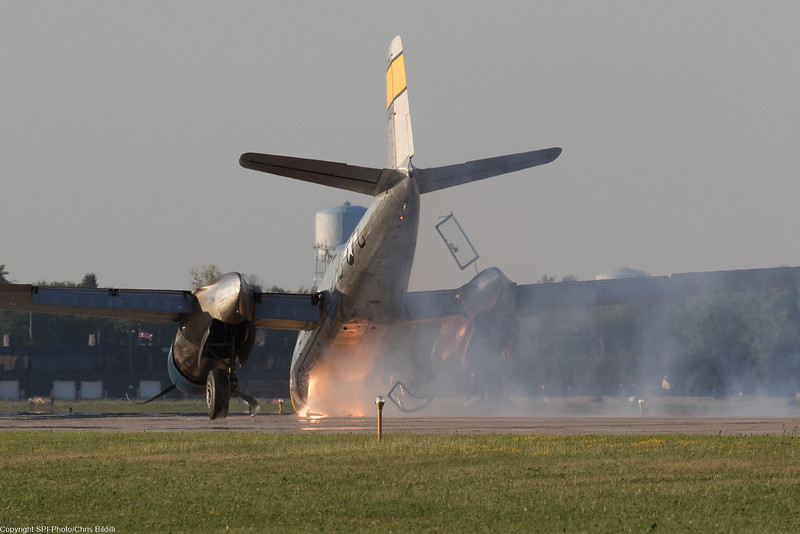 The pilots ejected the canopies as the A-26 slowed down.