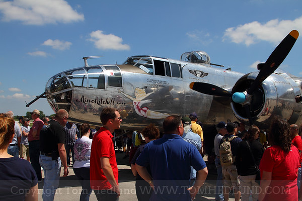 Everyone is checking out the spectacular B-25 Miss Mitchell.