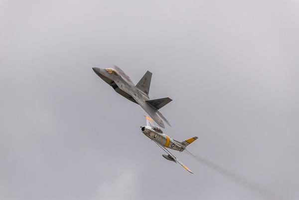 Heritage Flight F-22 Raptor and F-86 Sabre
