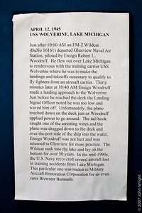 "General Motors FM-2 ""Wildcat"".  Description of how this aircraft was recovered from the bottom of Lake Michigan"