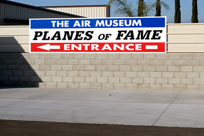 Entry sign at the Planes of Fame Museum, Chino, CA.