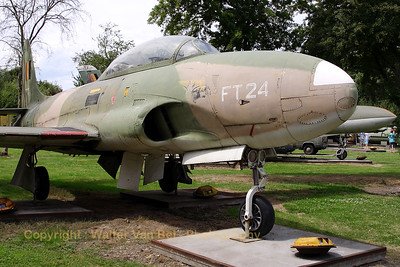 This T-Bird from the Belgian Air Force was taken on charge in 1954 and served till 1980, accumulating 1420 flying hours. It is here shown - preserved - at the Beauvechain Historical Center. The colors have faded since I saw her last (about 25 years ago)...