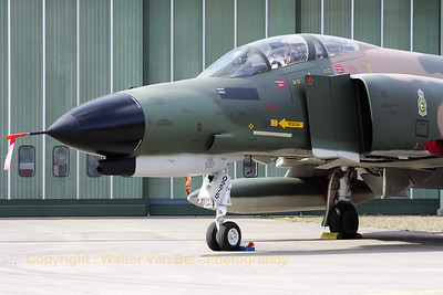 """This aircraft is in fact F-4E Phantom II (reg: 67-0275, cn3011), which flew for the 35th TFS, 3rd TFW at George AFB, Ca. It was credited with a MiG kill (note the red star on the splitter plate) on September 12, 1972 (at that time piloted by Lt.Col.Lyle L. Beckers and 1Lt Thomas M. Griffin). This Phantom never flew for the 32nd FG at Soesterberg Air Base (Camp New Amsterdam), but it is now painted in the c/s of the 32nd FG """"Wolfhounds"""". The 32nd FG """"Wolfhounds"""" was based at Soesterberg from 1954 till 1994."""