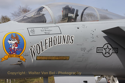 """This F-15A served with the 1st Tactical Fighter Wing at Langley (USA), but it is now painted as a F-15A (77-0132) of the 32nd FG """"Wolfhounds"""". The 32nd FG """"Wolfhounds"""" was based at Soesterberg from 1954 till 1994."""