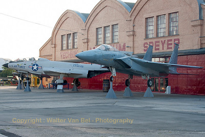This F-15A (74-0109) on display at the Technik Museum Speyer, was obtained from a F-15 squadron at Bitburg, where it had been flying until the squadron was disbanded in 1993. In the background, a McDonnell F-101B Voodoo (58-0265) - in a c/s of the Texas ANG, fotographed at dawn at the gate of the Technik Museum Speyer.