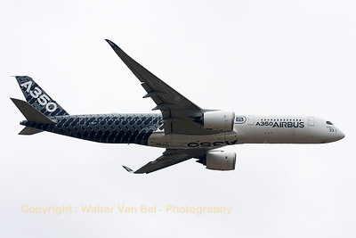 Airbus A350-941 (F-WWCF; cn002) during her demo at the Paris Air Show 2015, unfortunately in very poor weather conditions.