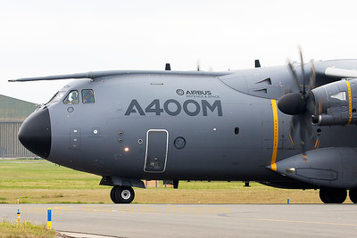 The Airbus A400M (EC-406;cn 006), on the taxitrack to the active runway, prior to her display at the 2015 Paris Air Show.